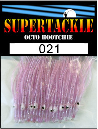 Product photograph of 021 Jimmy a Supertackle fishing lure. It is 1.5 inches long made of purple transparent plastic. This hoochie skirt is used to make salmon and kokanee trout lures.