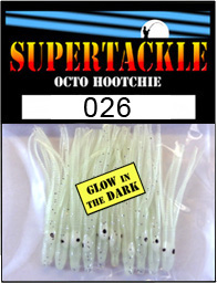 Product photograph of 026 Casper a Supertackle fishing lure. It is 1.5 inches long made of transparent white and glow in the dark plastic. This hoochie skirt is used to make salmon and bass tackle.