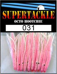 Product photograph of 031 Pink 'n White a Supertackle fishing lure. It is 1.5 inches long made of white and pink plastic. This hoochie skirt is used to make kokanee and salmon tackle.