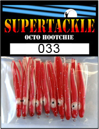 Product photograph of 033 Eleven Ball a Supertackle fishing lure. It is 1.5 inches long made of red and white plastic. This hoochie skirt component is used to make kokanee trout and bass tackle.