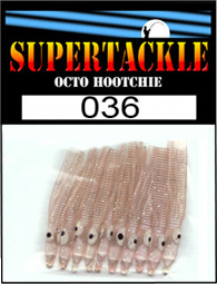 Product photograph of 034 Flesh a Supertackle fishing lure. It is 1.5 inches long made of transparent pink plastic. This hoochie skirt component is used to make the best kokanee and bass fishing lures.