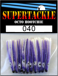 Product photograph of 040 Purple Meanie a Supertackle fishing lure. It is 1.5 inches long made of purple and white plastic. This hoochie skirt component is used to make spinnerbait fishing tackle.