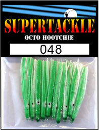 Product photograph of 048 Fourteen Ball a Supertackle fishing lure. It is 1.5 inches long made of green and white plastic. This hoochie skirt component is used to make the best coho salmon fishing tackle.