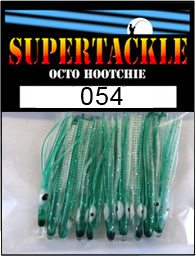 Product photograph of 054 CAR 54 a Supertackle fishing lure. It is 1.5 inches long made of aqua blue and white plastic. This hoochie skirt component is used to make the best kokanee fishing lures.