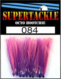Product photograph of 084 Nurple a Supertackle fishing lure. It is 1.5 inches long made of purple and pink plastic. This hoochie skirt component is used to make the best fluke and flounder fishing lures.