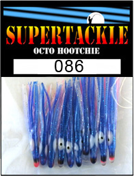 Product photograph of 086 Blue Tus a Supertackle fishing lure. It is 1.5 inches long made of red and blue plastic. This hoochie skirt component is used to make the best kokanee fishing lures.