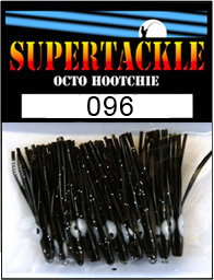 Product photograph of 096 Licorice a Supertackle fishing lure. It is 1.5 inches long made of soft black plastic. This hoochie skirt component resembles a leech or string of crab egg and is used to make the trout, kokanee and pink salmon fishing lures.
