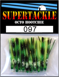 Product photograph of 097 Lucky Logger a Supertackle fishing lure. It is 1.5 inches long made of black, green and chartreuse plastic. This hoochie skirt component resembles a gloom of salt water algea and is used to make the pink salmon fishing lures.