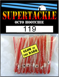 Product photograph of 119 Blood and Bone a Supertackle fishing lure. It is 1.5 inches long made of glow in the dark white with red striped plastic. This hoochie skirt component is used to make the best bass and kokanee fishing lures.