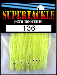 Product photograph of 136 Mellow Yellow a Supertackle fishing lure. It is 1.5 inches long made of custard yellow plastic. This hoochie skirt component is used to make the best bass spinnerbait fishing lures.
