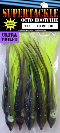 Salmon 4.75 inch fishing hoochie 123 Oliver Oil, glow in the dark by Supertackle