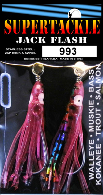 Pink rainbow fishing tackle for salmon trolling.