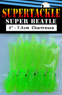 Super Beatle fishing squid, 3 inch chartreuse