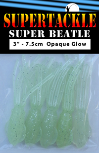 Super Beatle fishing squid, 3 inch glow white
