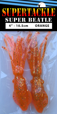 Super Beatle fishing squid, 4 inch orange