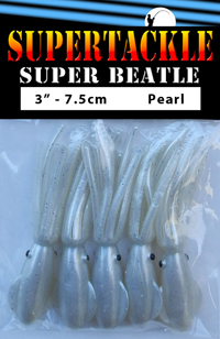 Super Beatle fishing squid, 3 inch pearl white