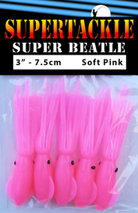 Super Beatle fishing squid, 3 inch pink