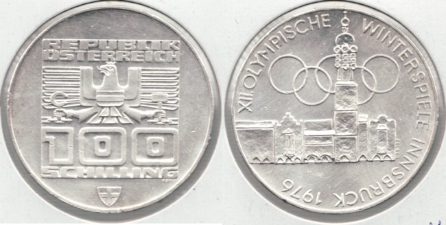 1976 austria silver 100 schilling innsbruck olympics ebay. Black Bedroom Furniture Sets. Home Design Ideas